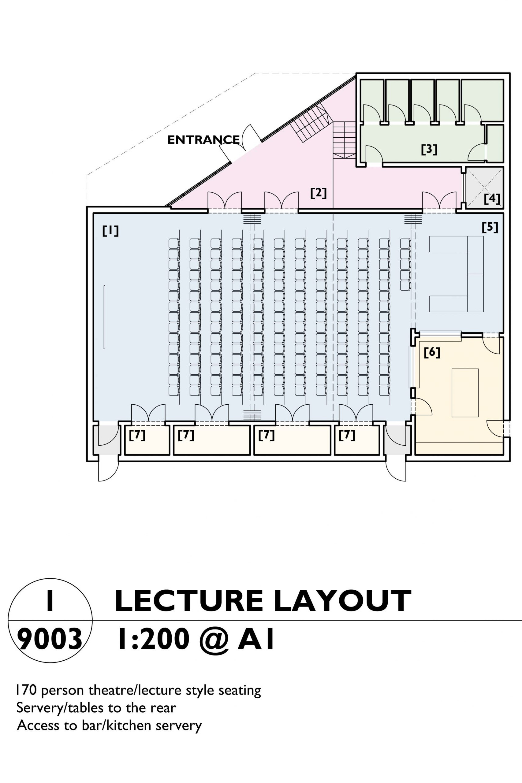 Image showing the lecture layout plan of the Mill Arts Centre