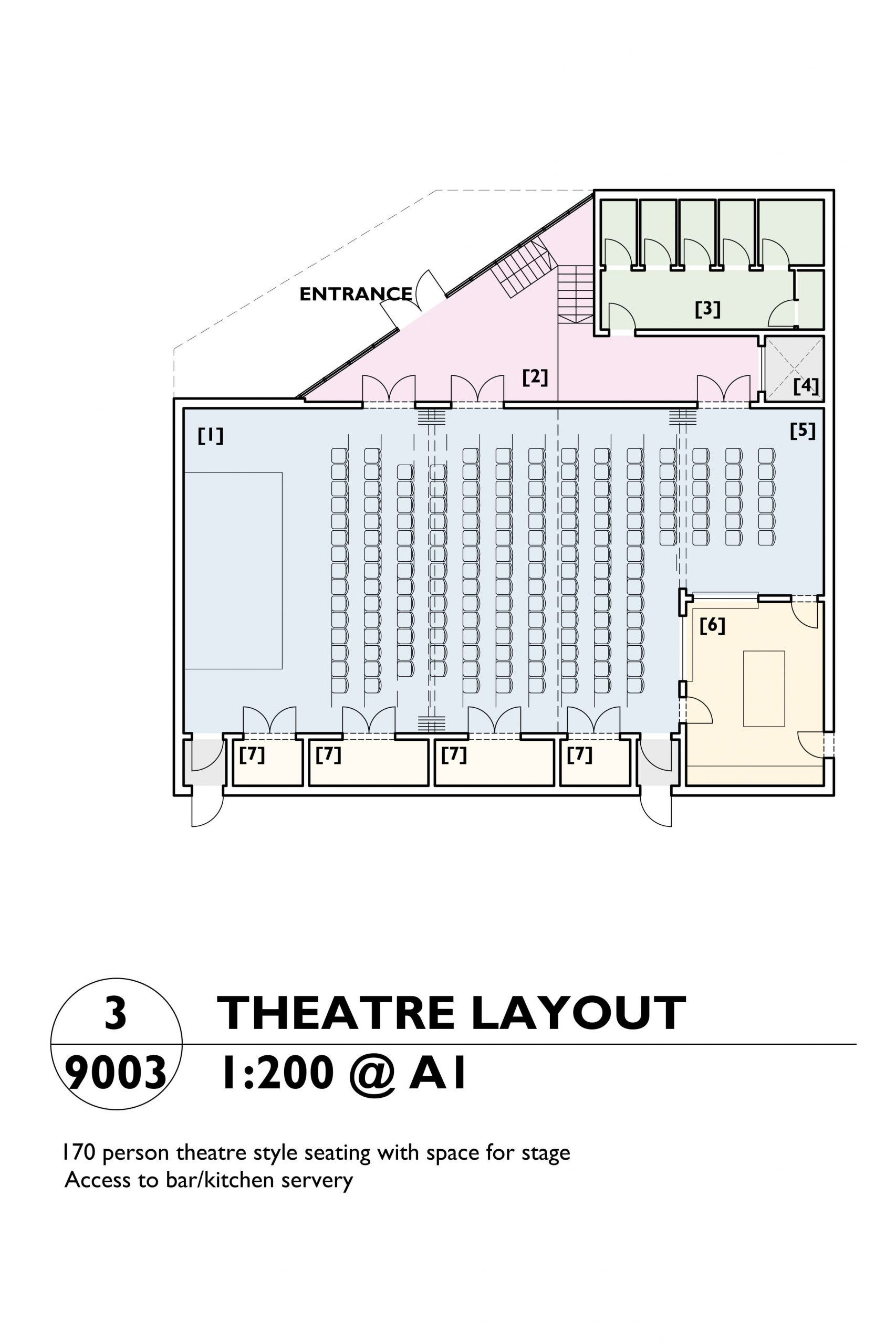 Image showing the theatre layout plan of the Mill Arts Centre