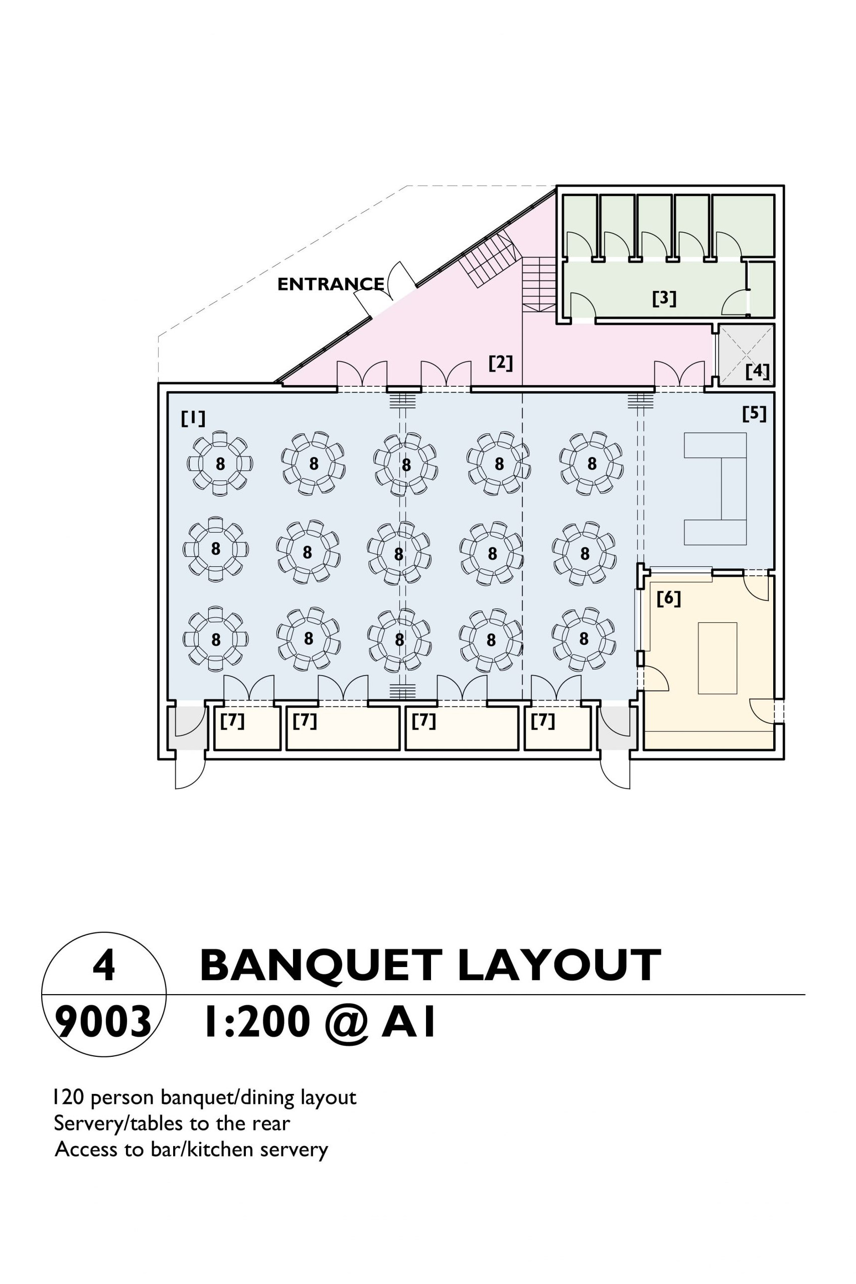 Image showing the banquet layout plan of the Mill Arts Centre