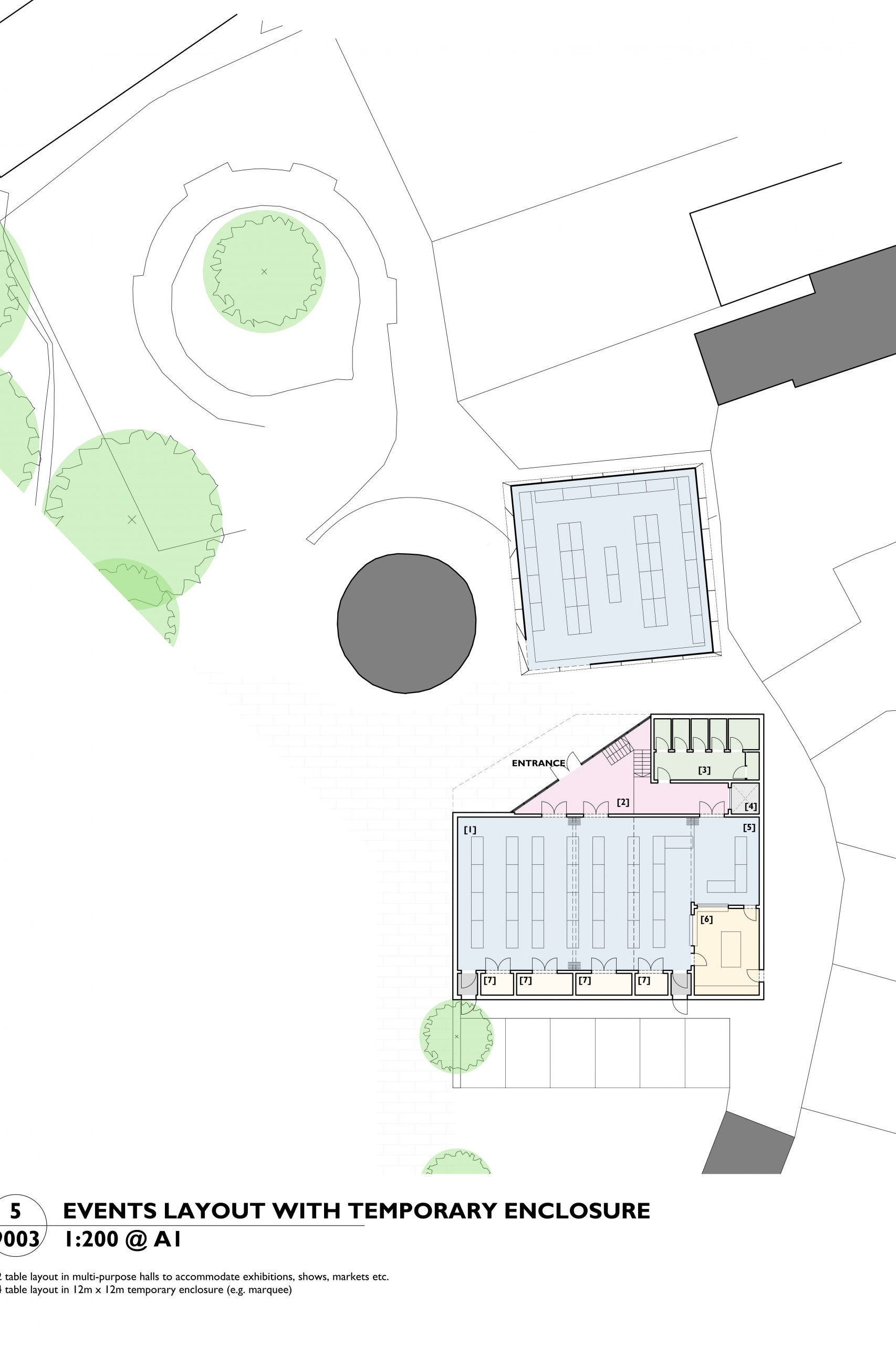 Image showing the events layout plan of the Mill Arts Centre